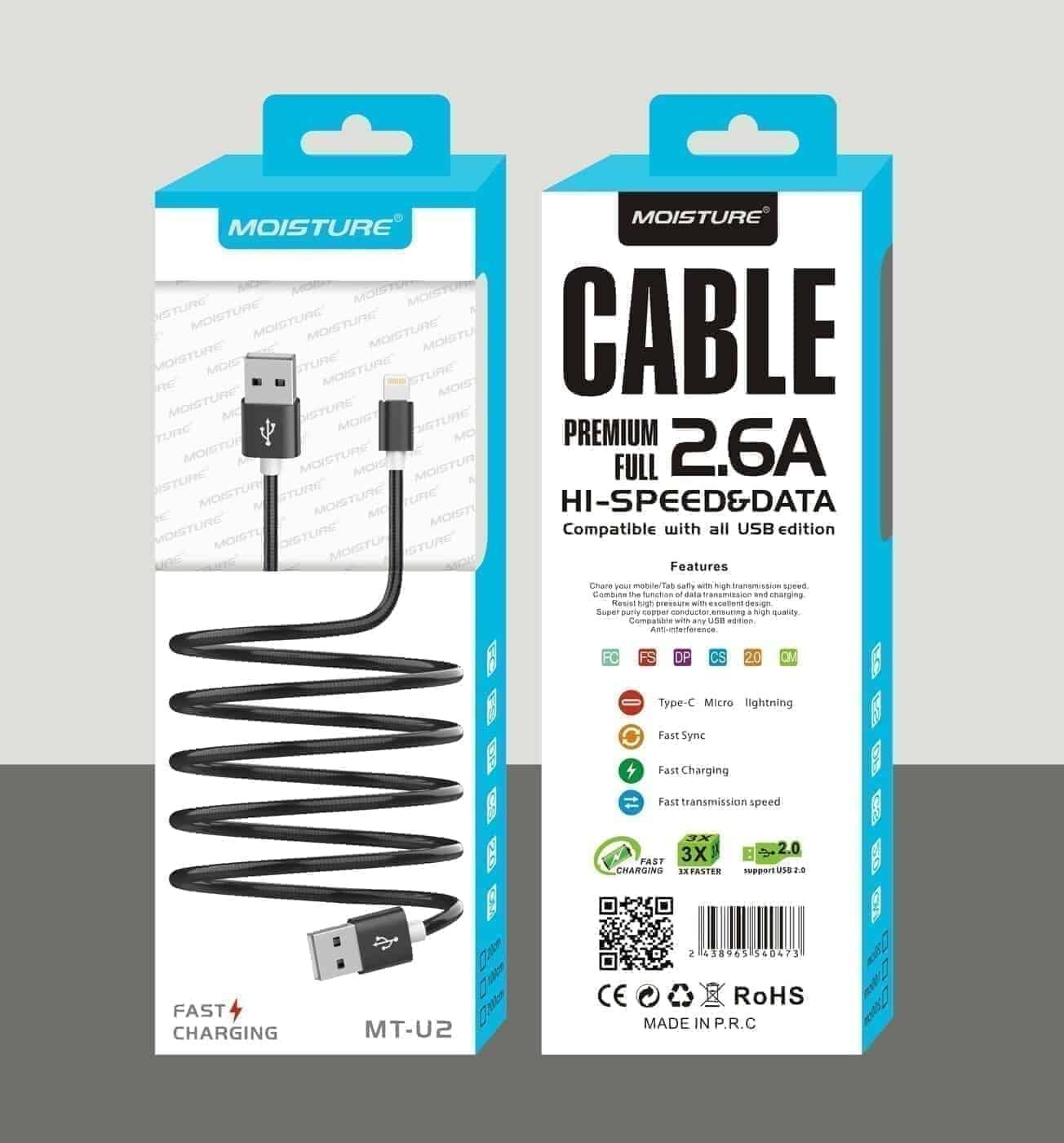 Moisture 2.6A Premium Full Hi-Speed Data Cable In Black