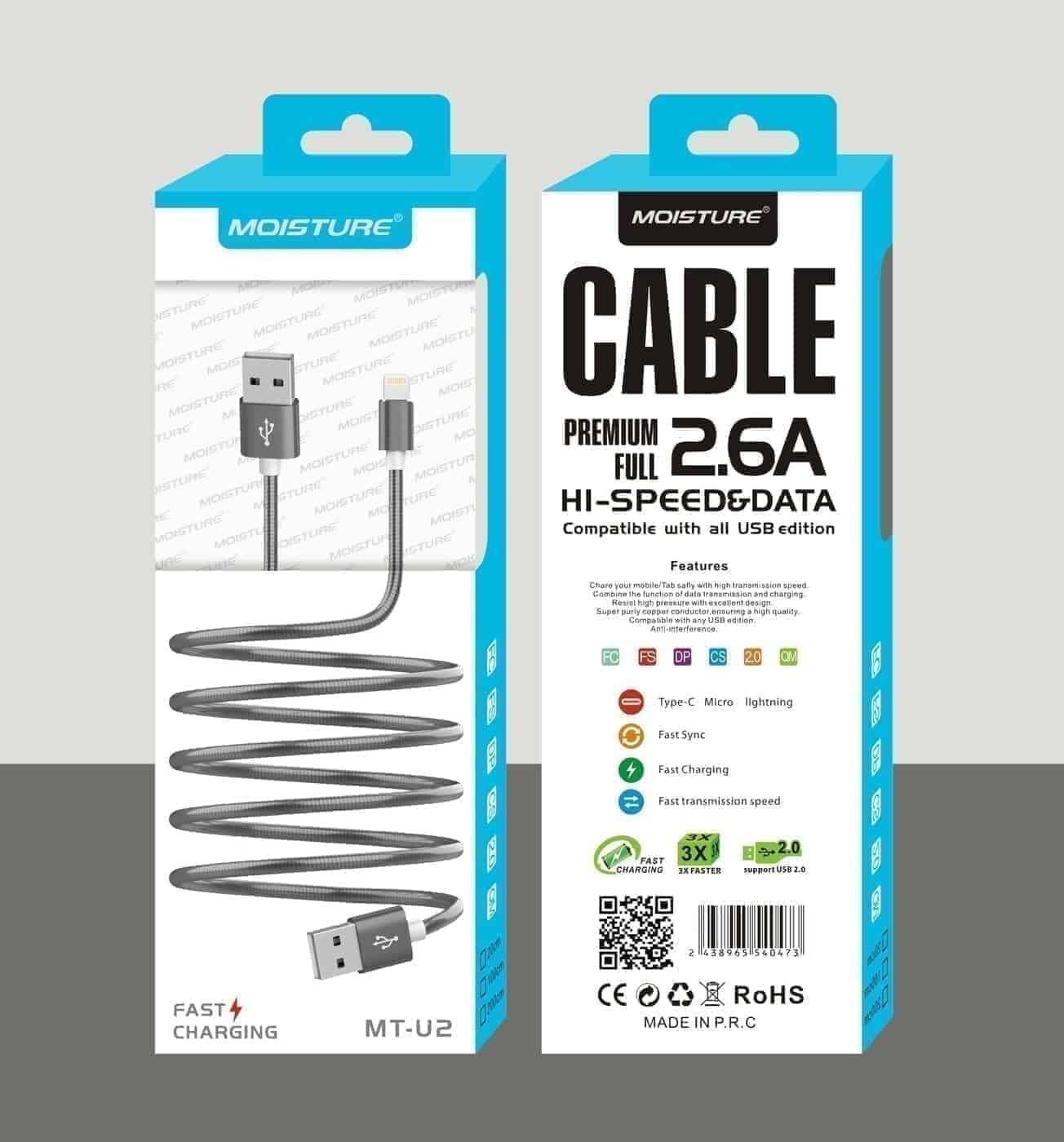 Moisture 2.6A Premium Full Hi-Speed Data Cable In Gray