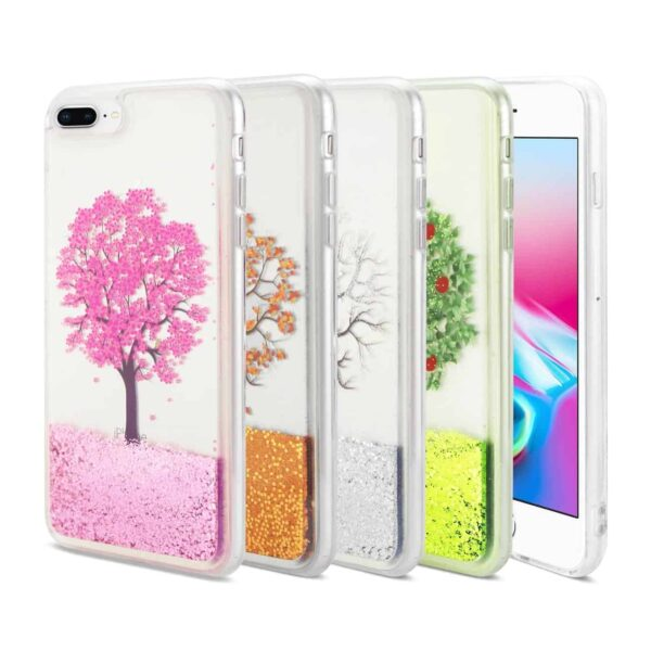 iPhone 8 Plus Clear Bumper Cases(4pcs) with Tree Design In Four Seasonal Colors