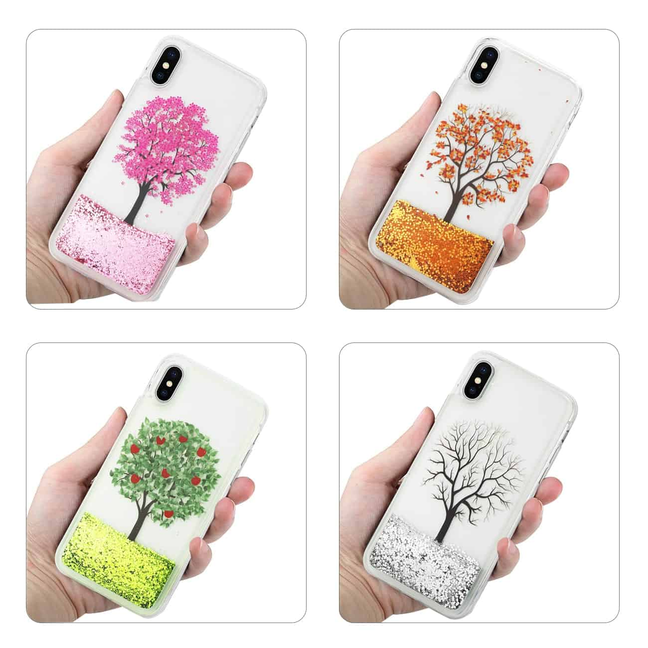 iPhone X Clear Bumper Cases(4pcs) with Tree Design In Four Seasonal Colors