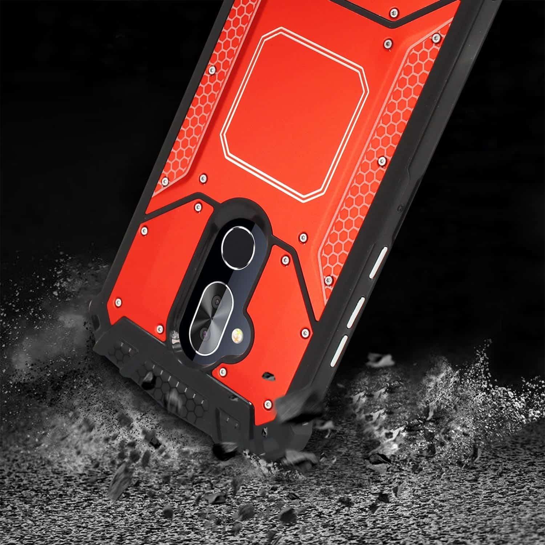 ALCATEL 7 FOLIO Metallic Front Cover Case In Red