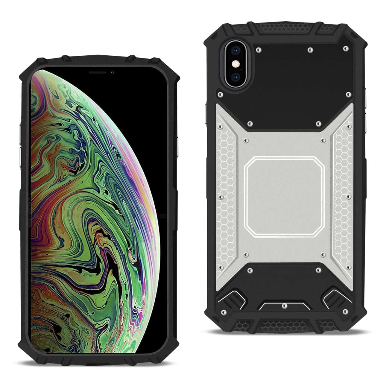 APPLE IPHONE XS MAX Metallic Front Cover Case In Silver and Black