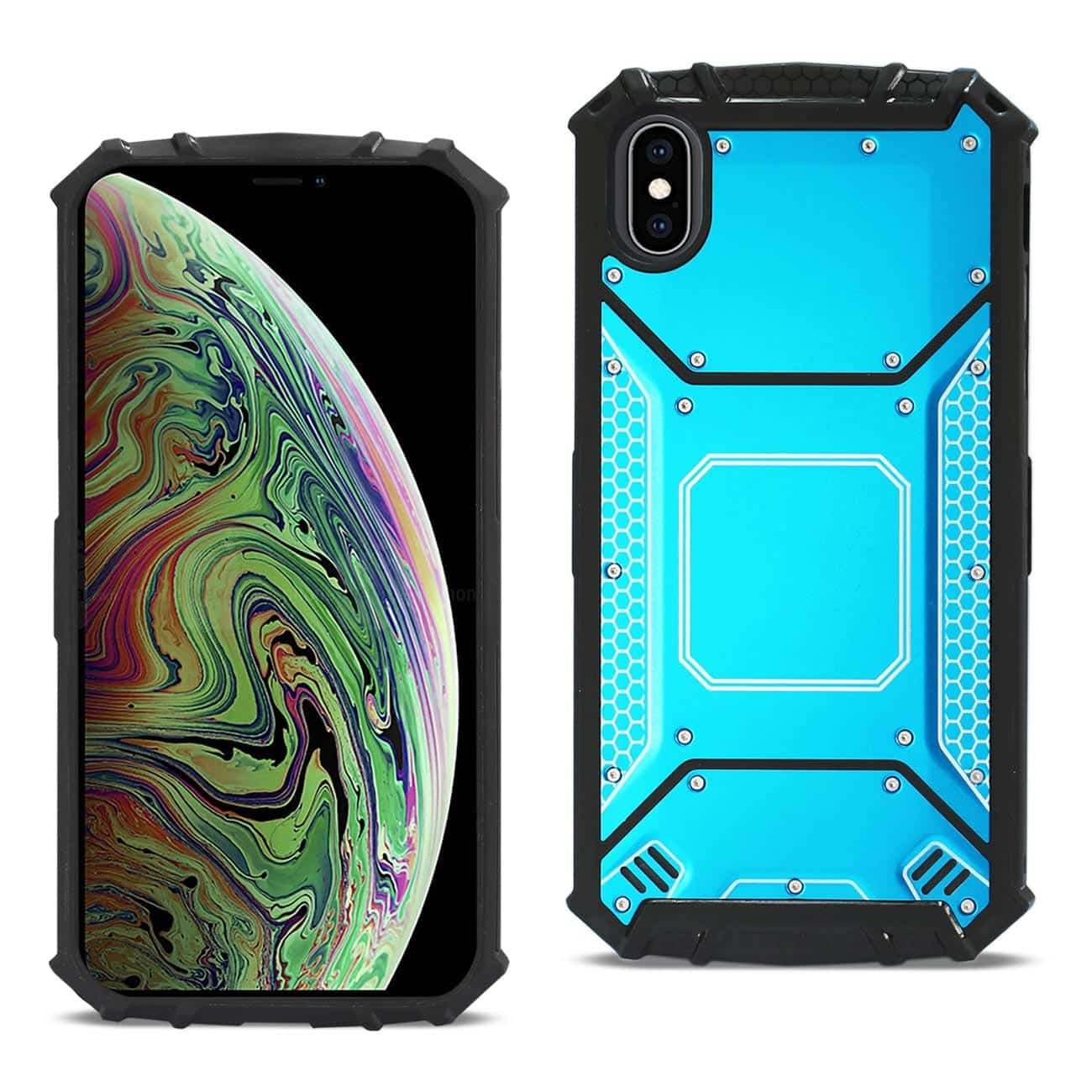 iPhone XS MAX Metallic Front Cover Case In Blue