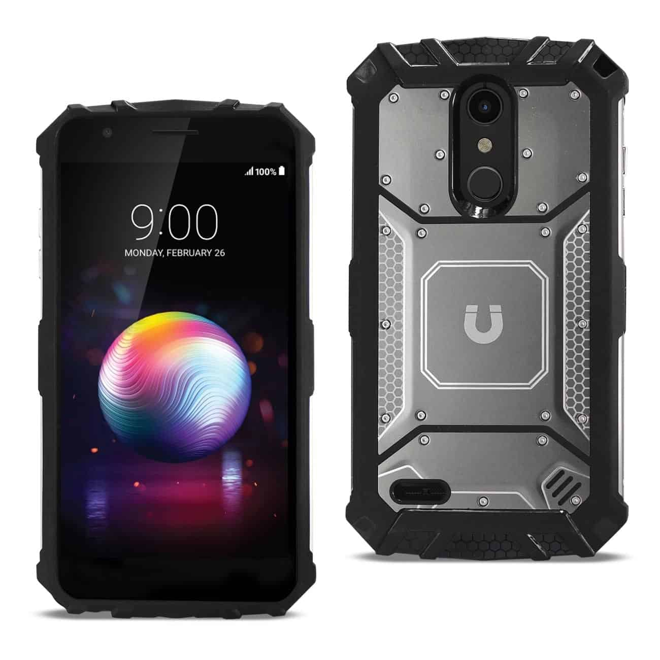 LG K10(2018) Metallic Front Cover Case In Gray