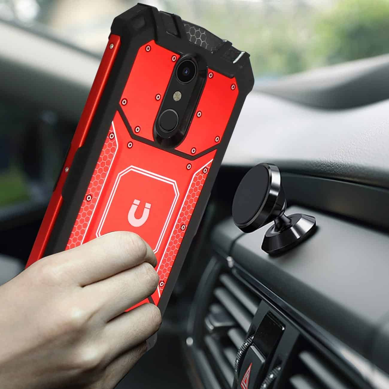 LG K10(2018) Metallic Front Cover Case In Red
