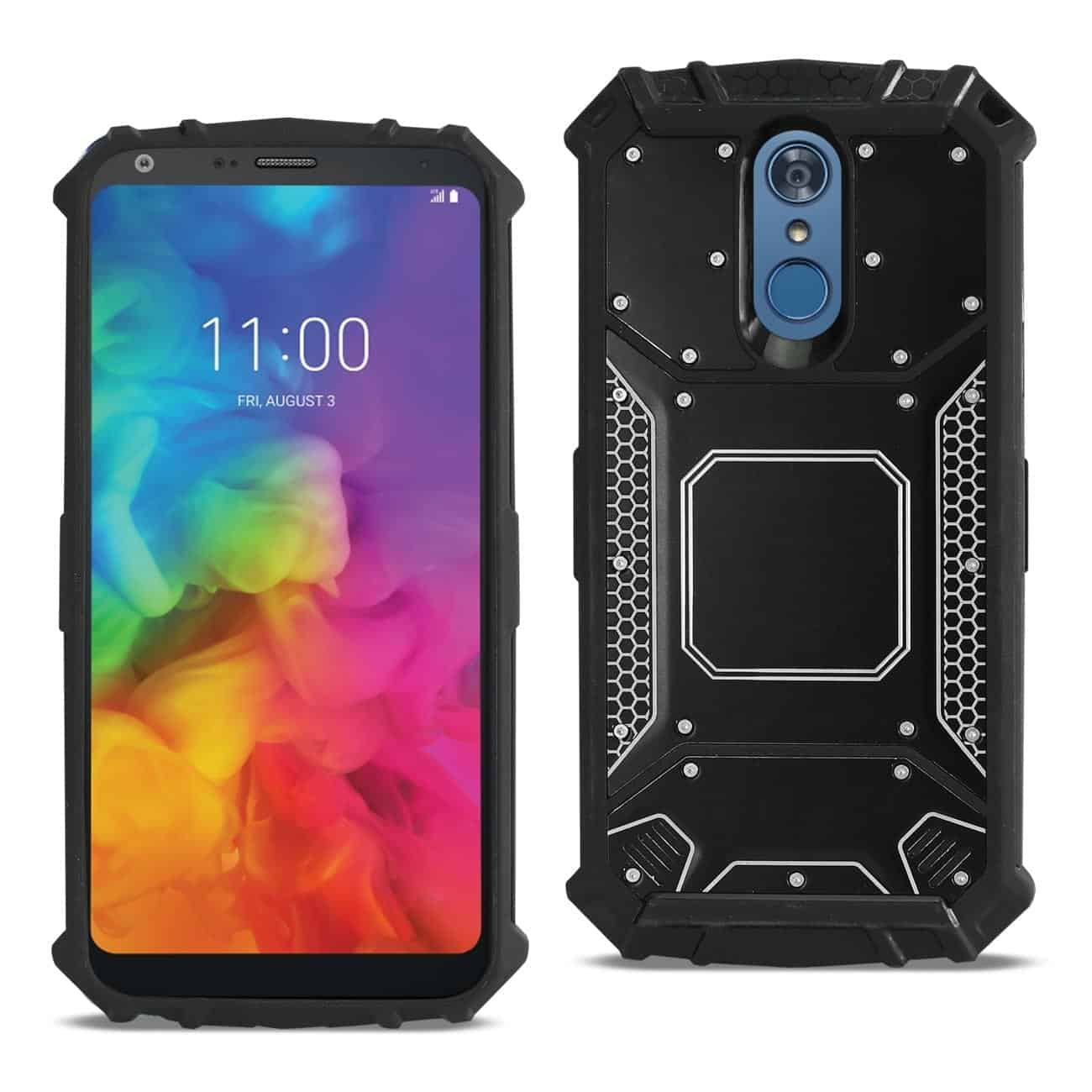 LG Q7 Plus Metallic Front Cover Case In Black