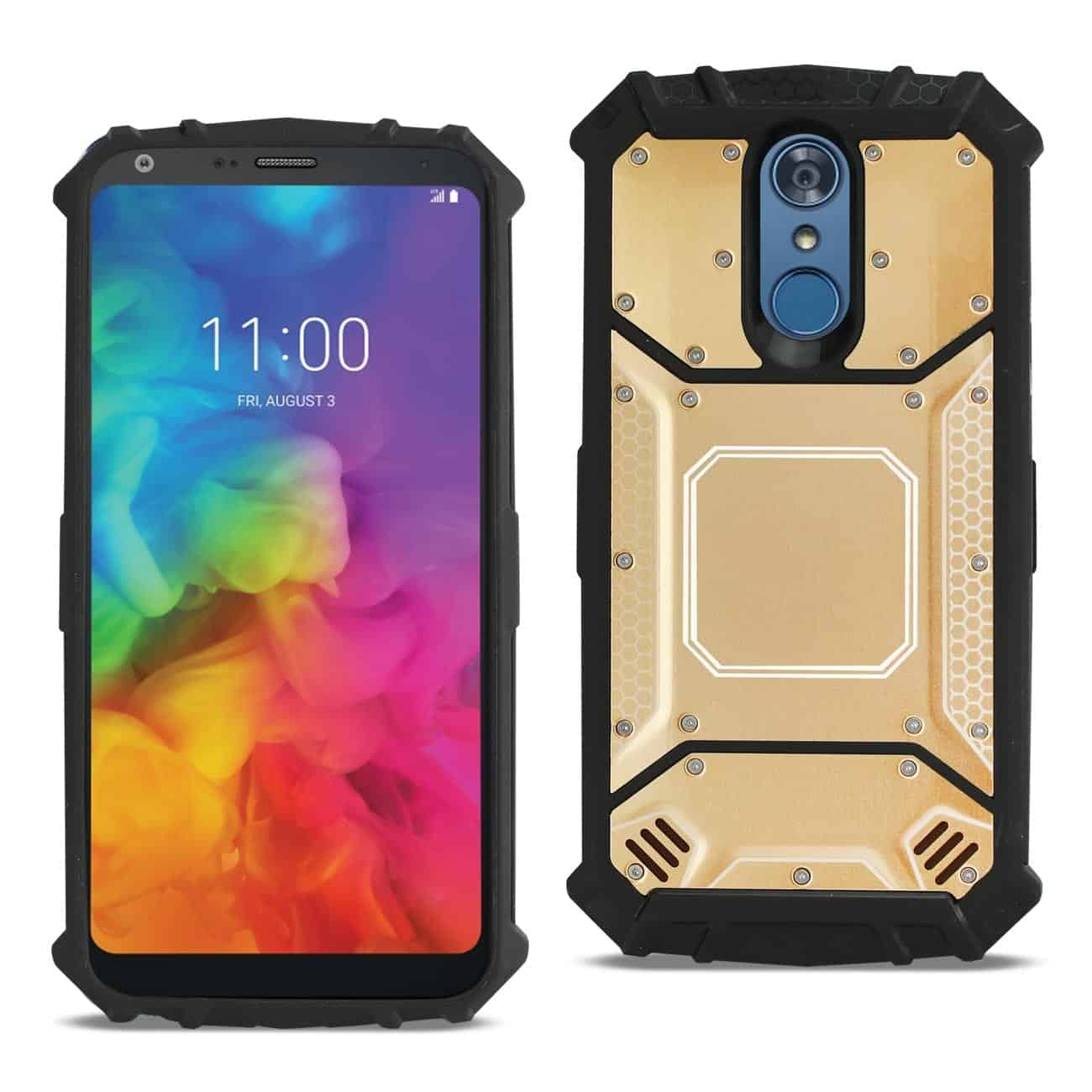LG Q7 Plus Metallic Front Cover Case In Gold