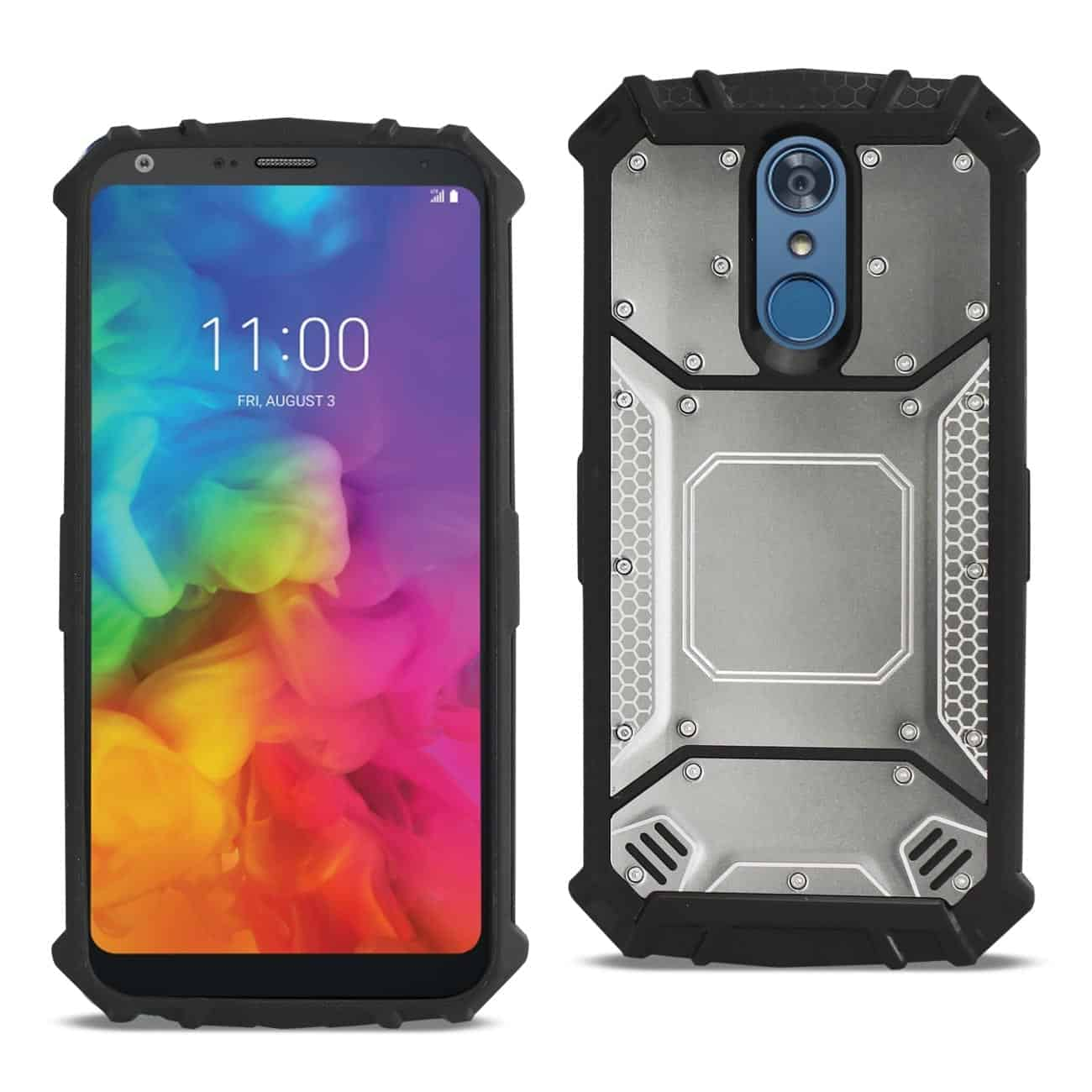LG Q7 Plus Metallic Front Cover Case In Gray