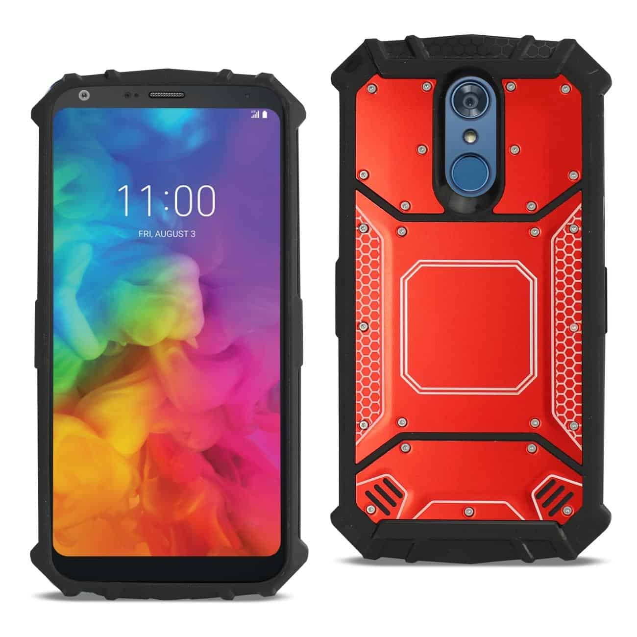 LG Q7 Plus Metallic Front Cover Case In Red