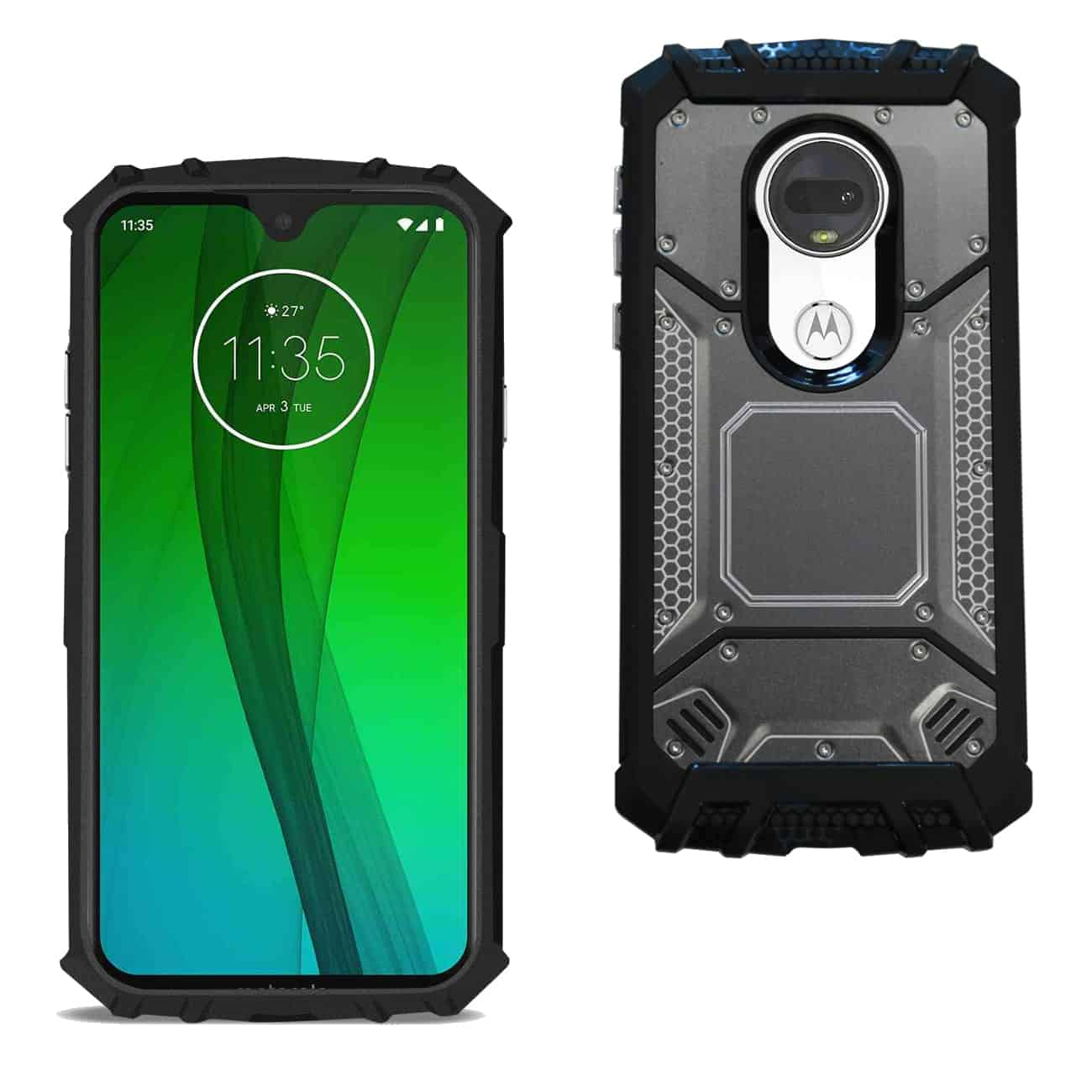 MOTOROLA MOTO G7 PLAY Metallic Front Cover Case In Black