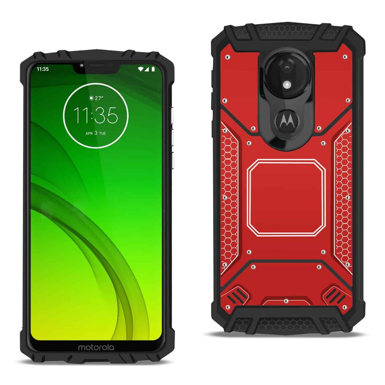 MOTOROLA MOTO G7 POWERMetallic Front Cover Case In Red