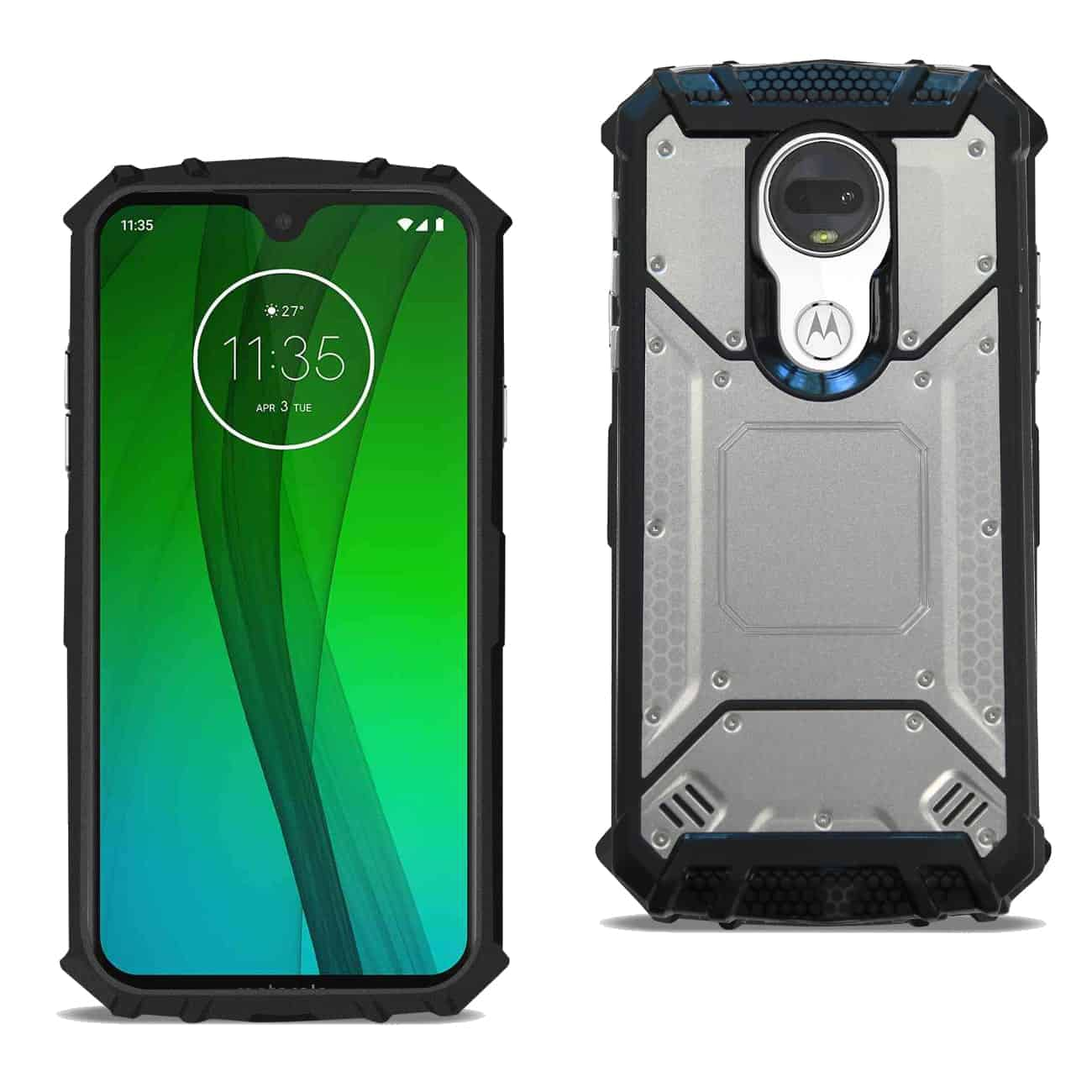 MOTOROLA MOTO G7 POWER Metallic Front Cover Case In Silver