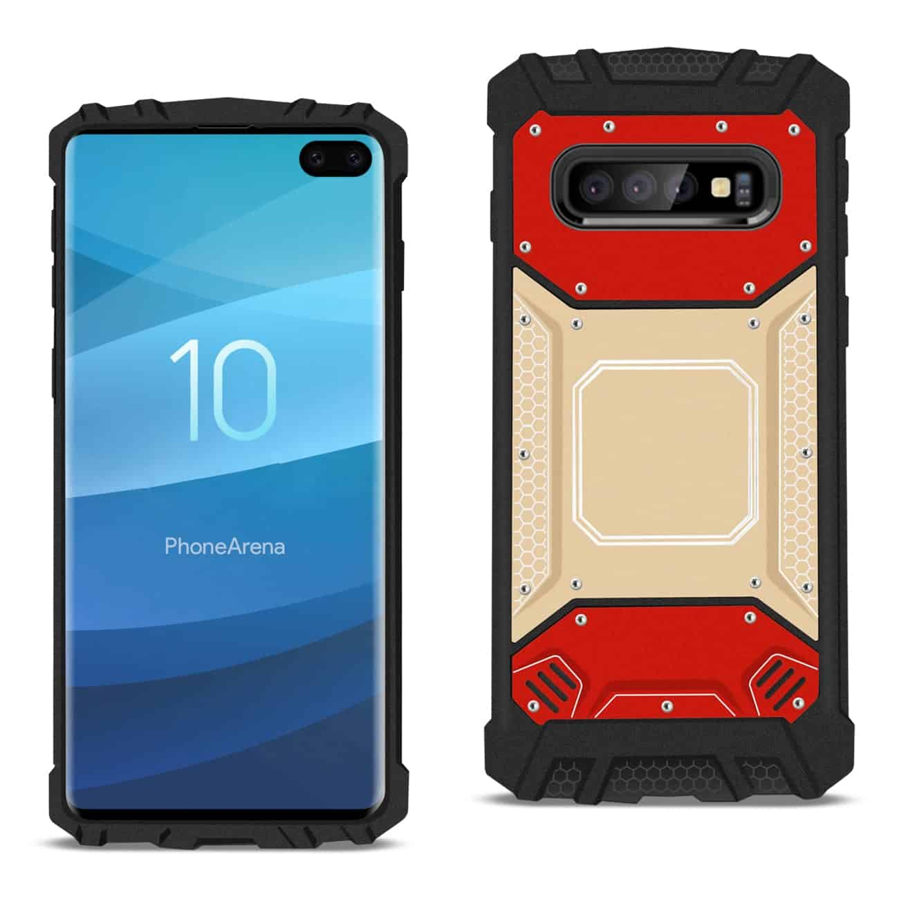 SAMSUNG GALAXY S10 Plus Metallic Front Cover Case In Red and Gold