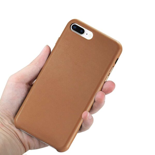 Apple iPhone 8 Plus Premium PU Leather Ultra Slim Vintage Designer Shell Back Cover In Brown