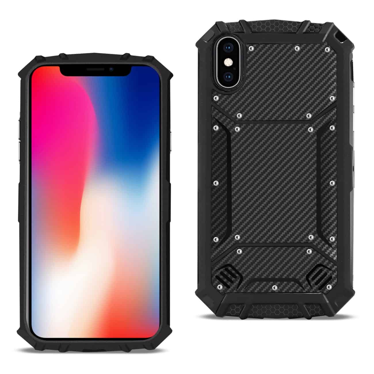 APPLE IPHONE X Carbon Fiber Hard-shell Case In Black