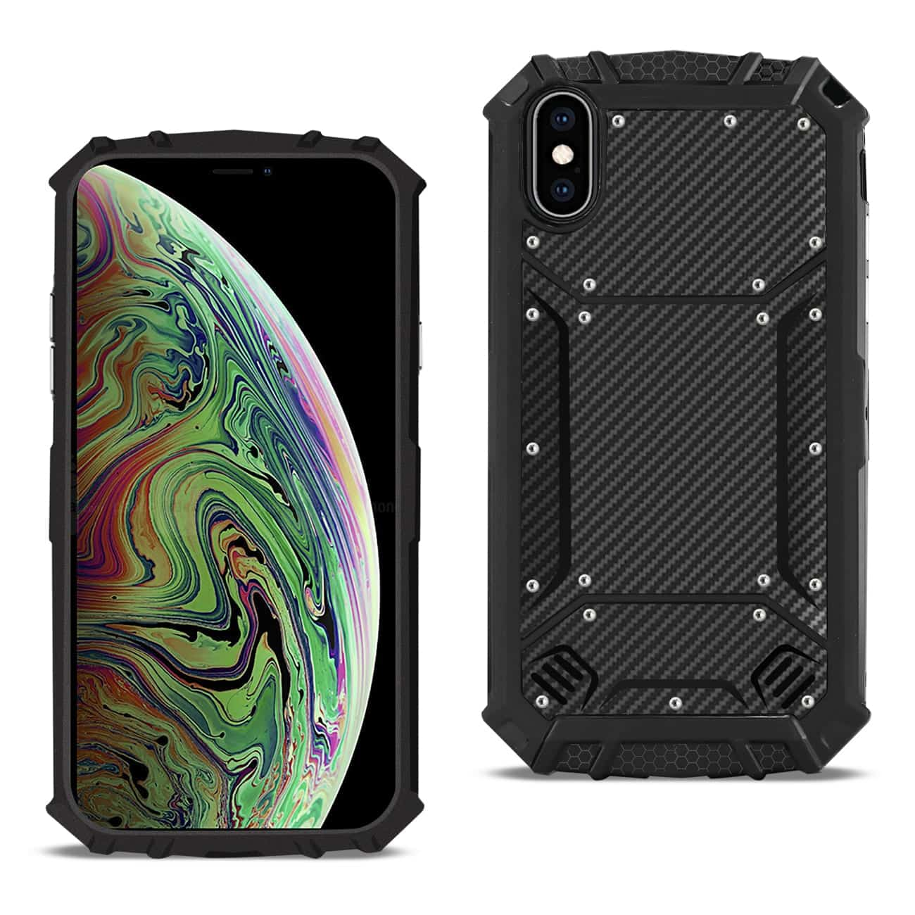 APPLE IPHONE XS MAX Carbon Fiber Hard-shell Case In Black
