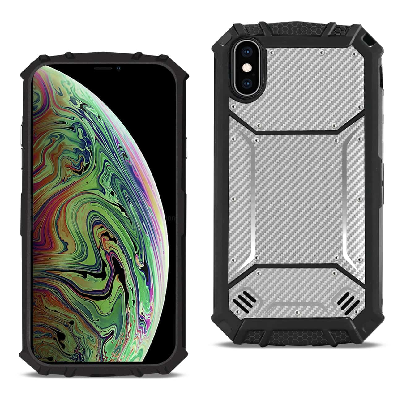 APPLE IPHONE XS MAX Carbon Fiber Hard-shell Case In Gray