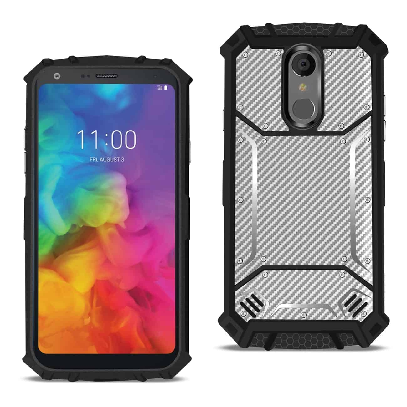LG Q7 PLUS_Carbon Fiber Hard-shell Case In Gray