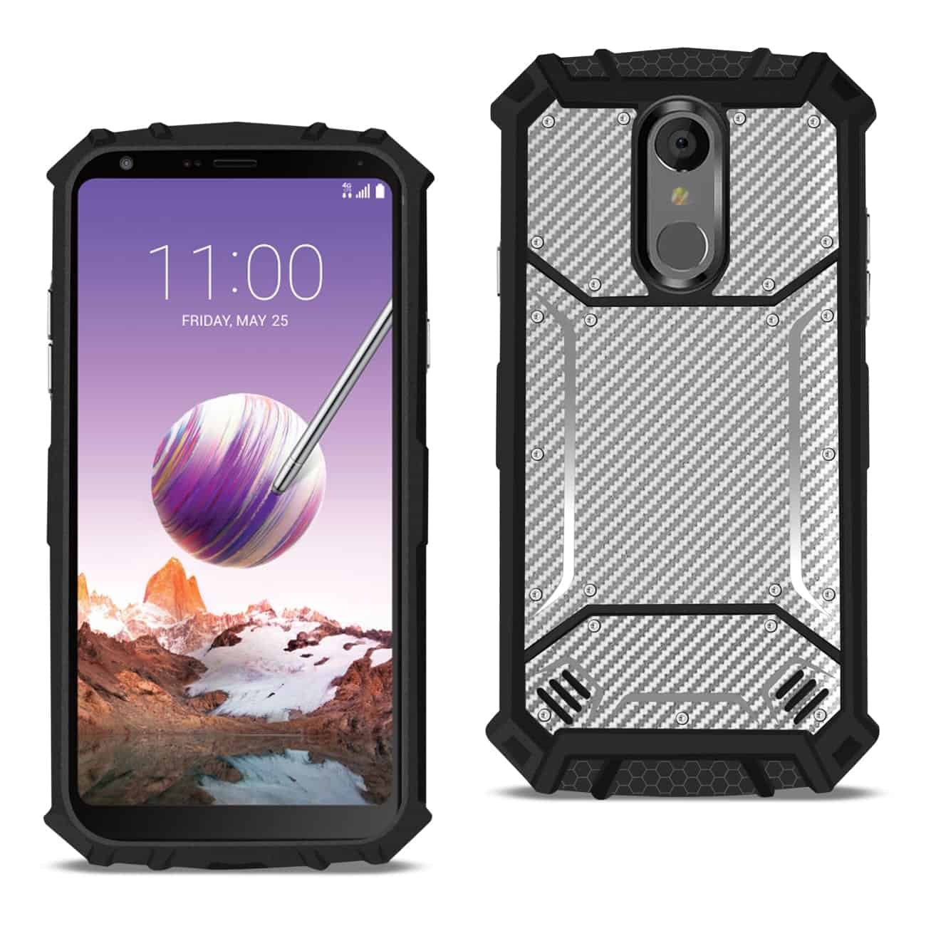 LG STYLO 4 Carbon Fiber Hard-shell Case In Gray
