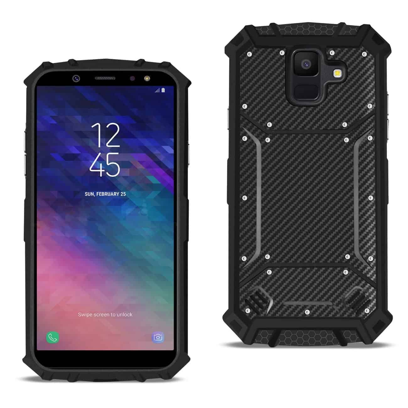 Samsung Galaxy A6 Carbon Fiber Hard-shell Case In Black