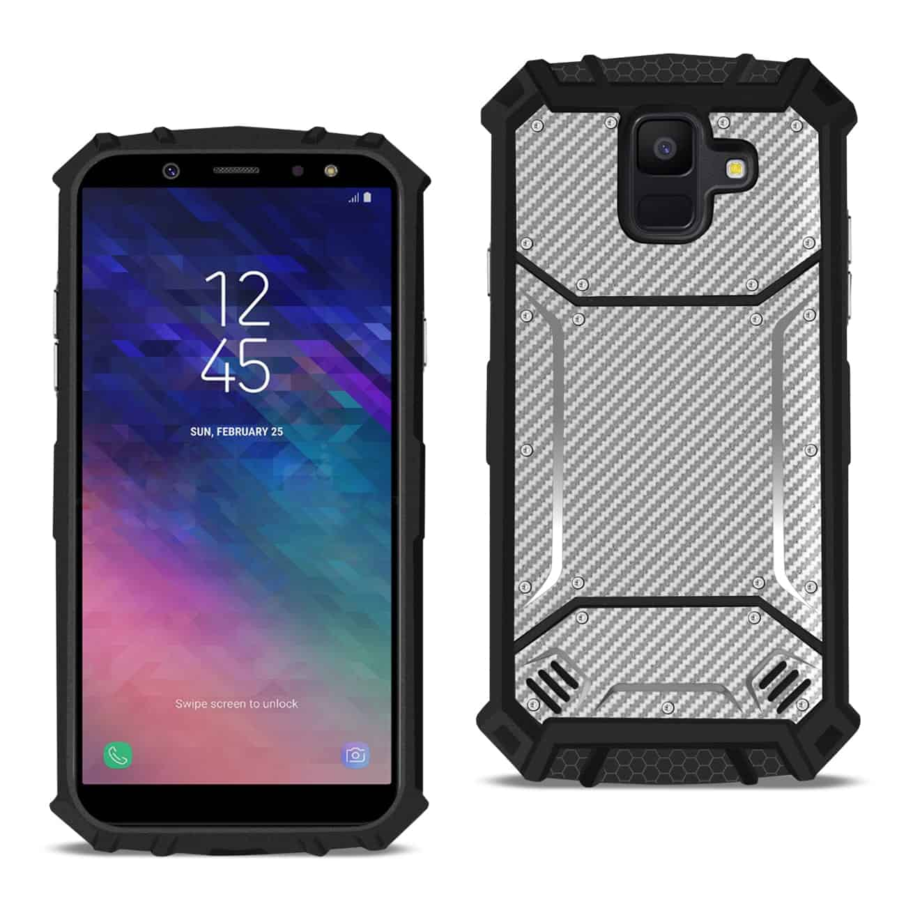 Samsung Galaxy A6 Carbon Fiber Hard-shell Case In Gray