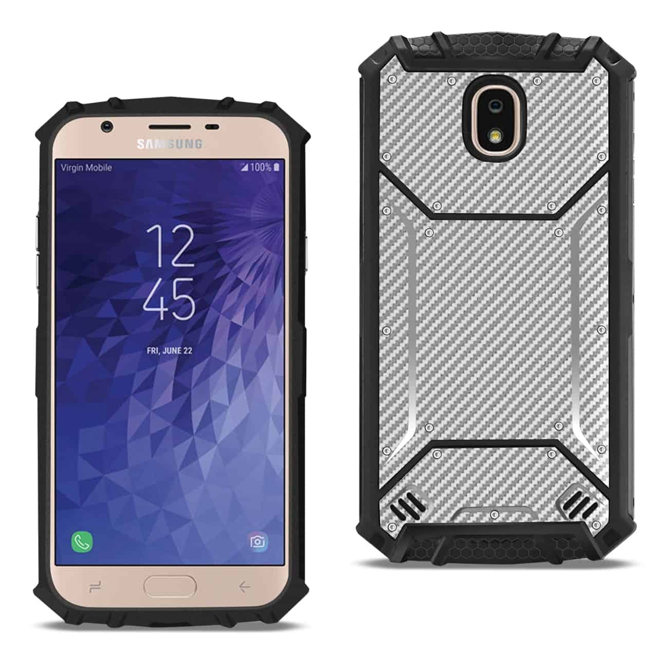 SAMSUNG GALAXY J7 (2018) Carbon Fiber Hard-shell Case In Gray