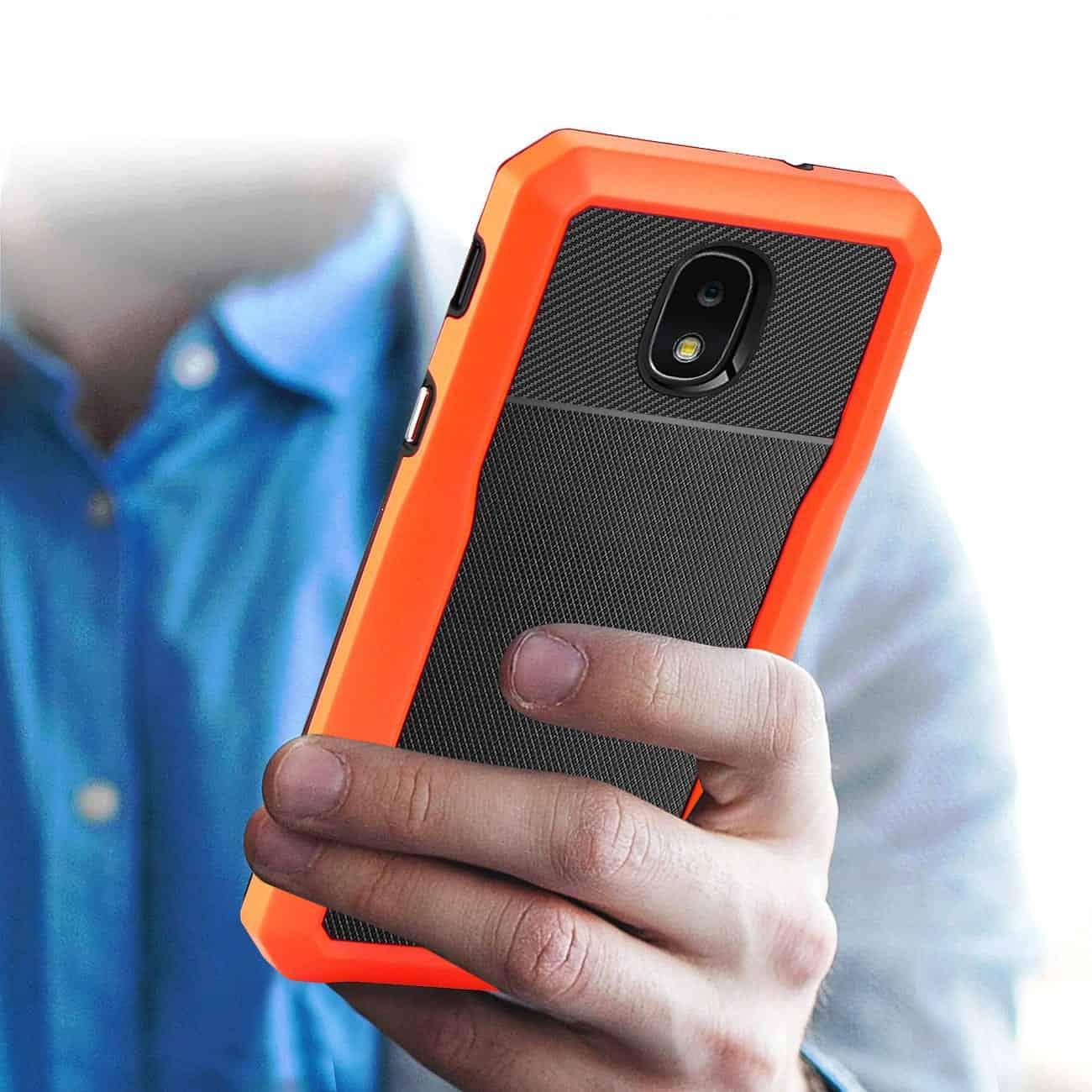 SAMSUNG GALAXY J7 (2018) Full Coverage Shockproof Case In Orange