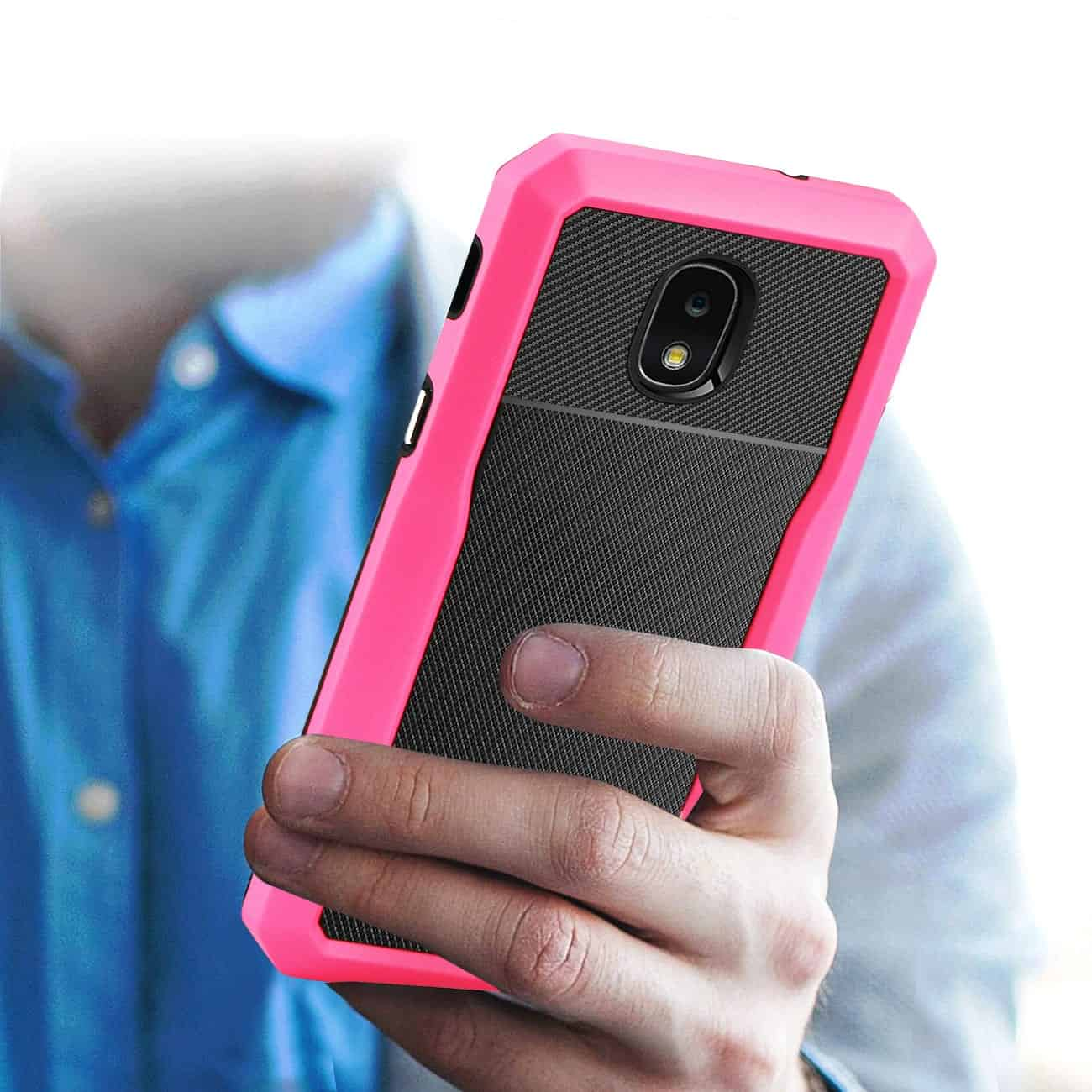 SAMSUNG GALAXY J7 (2018) Full Coverage Shockproof Case In Pink