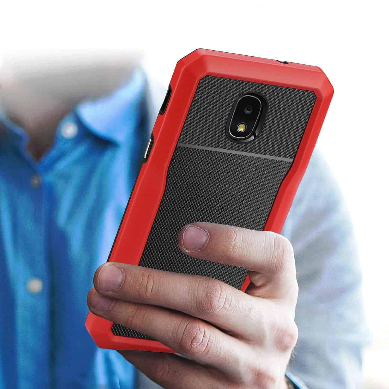 SAMSUNG GALAXY J7 (2018) Full Coverage Shockproof Case In Red