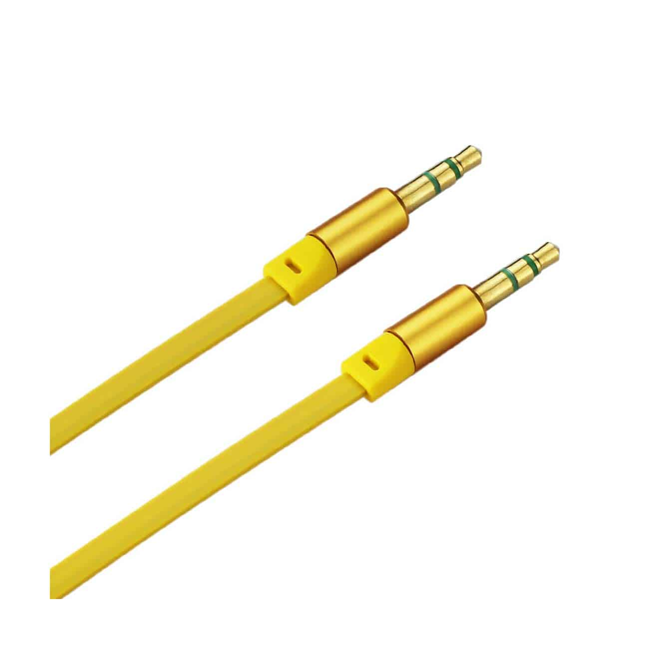 STEREO MALE TO MALE FLAT AUDIO CABLE 3.2FT IN YELLOW
