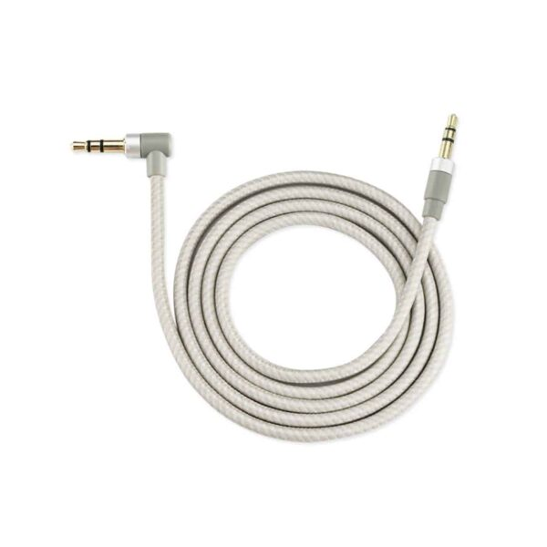 NYLON BRAIDED RIGHT ANGLE 3.5MM MALE TO MALE STEREO AUDIO CABLE 3.9FTS IN SILVER
