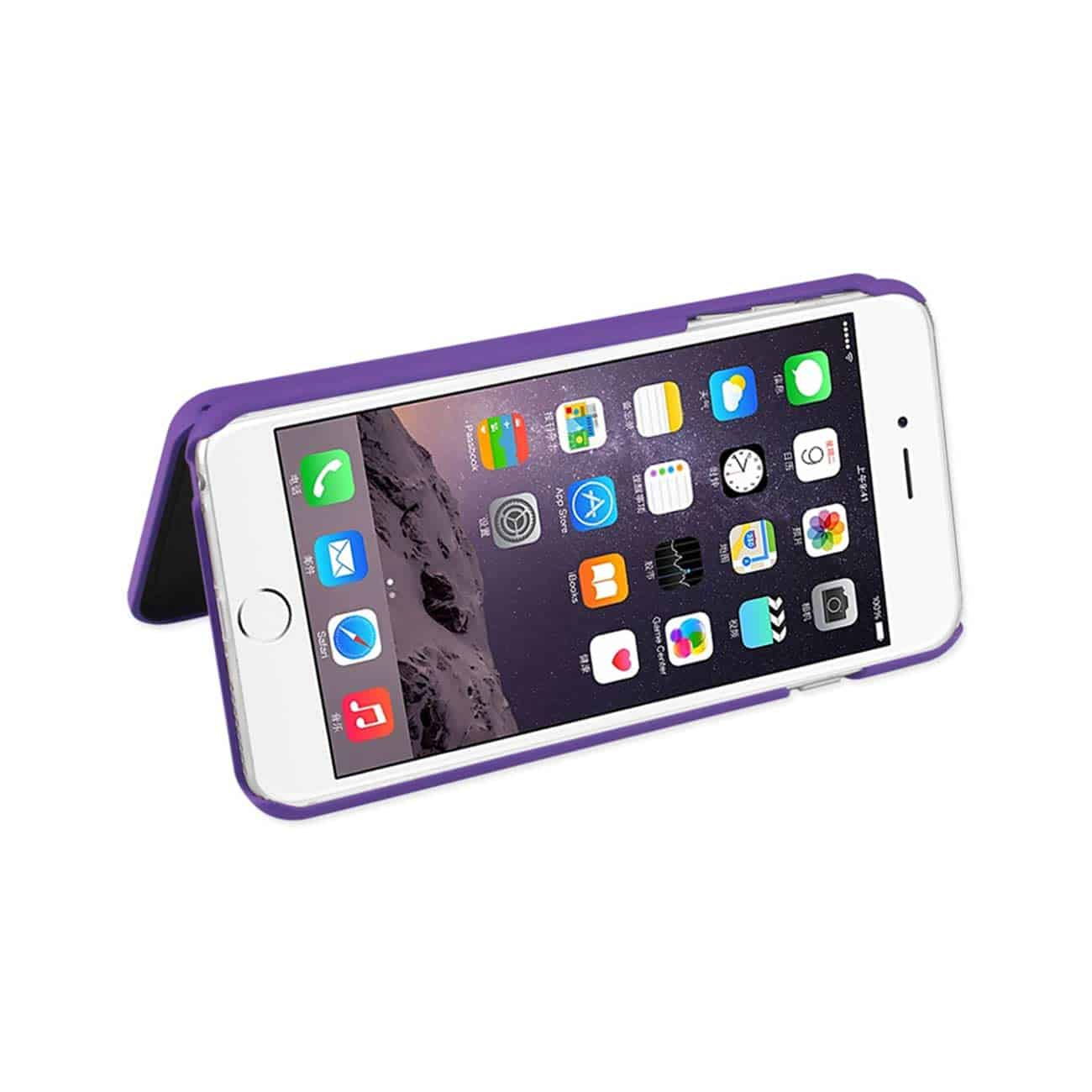 IPHONE 6 PLUS/ 6S PLUS HIDDEN MIRROR WALLET CASE WITH KICKSTAND FUNCTION IN PURPLE