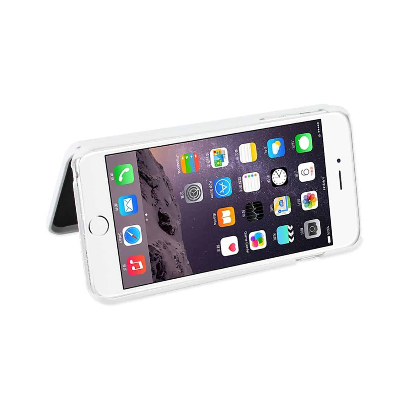 IPHONE 6 PLUS/ 6S PLUS HIDDEN MIRROR WALLET CASE WITH KICKSTAND FUNCTION IN WHITE