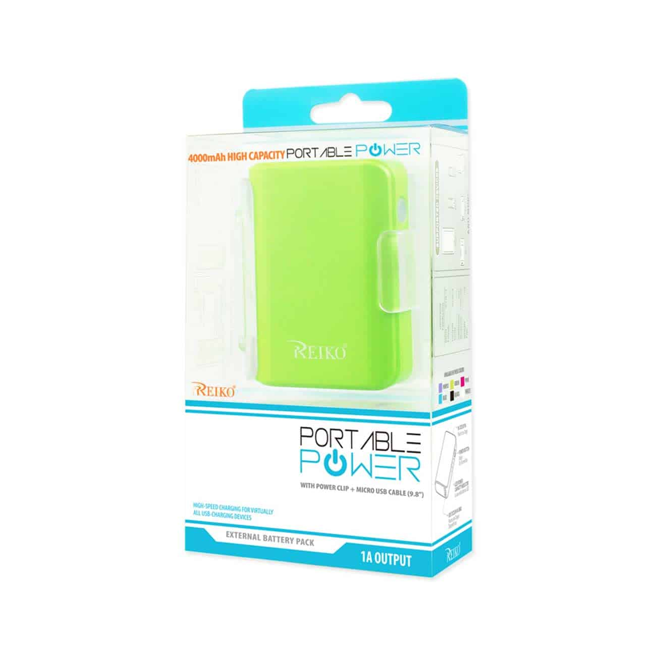 4000MAH UNIVERSAL POWER BANK WITH CABLE IN GREEN