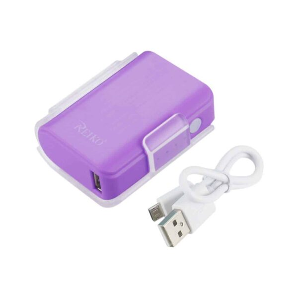 4000MAH UNIVERSAL POWER BANK WITH CABLE IN PURPLE