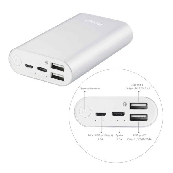 2A5V 6800MAH UNIVERSAL POWER BANK WITH MICRO CABLE AND DURAL OUTPUT PORT IN SILVER