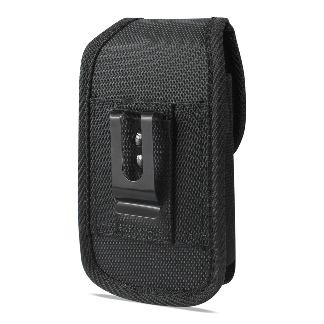 Vertical Rugged Pouch With Buckle Clip In Black (6.6X3.5X0.7 Inches)