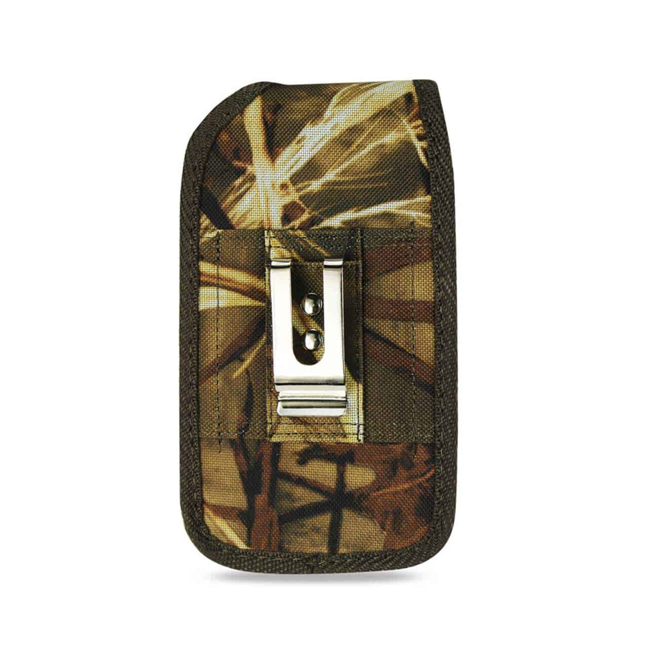 VERTICAL RUGGED MEDIAN SIZE POUCH WITH METAL BELT CLIP IN CAMOUFLAGE (3.5X2.05X1.1 INCHES)