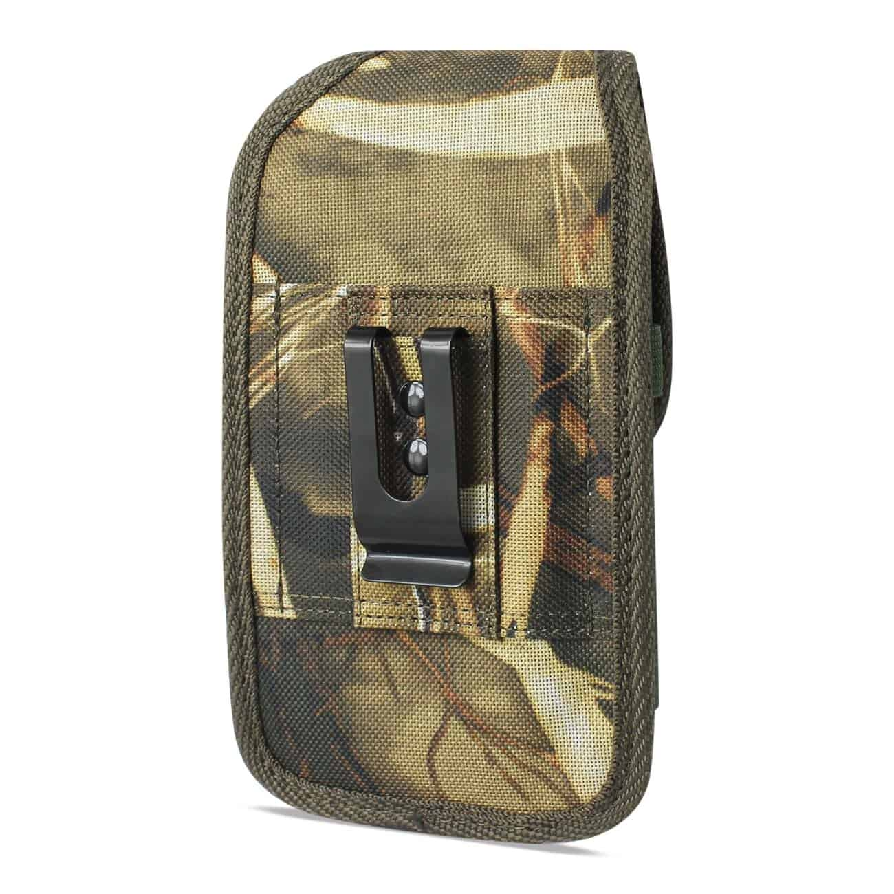 Vertical Rugged Pouch With Metal Belt Clip In Camouflage (5.3X2.7X0.7 Inches)