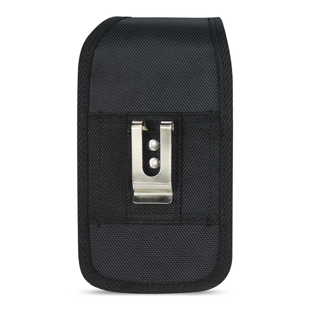 Vertical Rugged Pouch With Metal Belt Clip In Black (6.1X3.2X0.7 Inches)