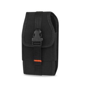 Vertical Rugged Pouch With Velcro And Belt Clip In Black (4.4X2.3X0.9 Inches)
