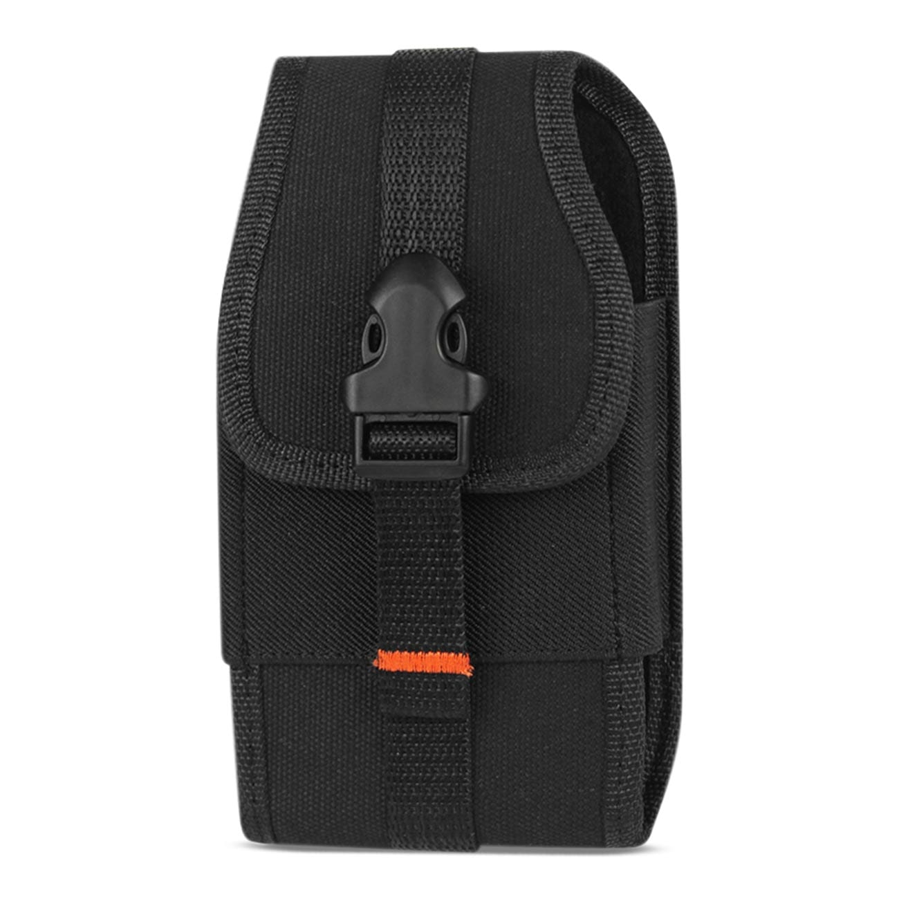 Vertical Pouch In Black With Buckle Clip And Card Holder Inner