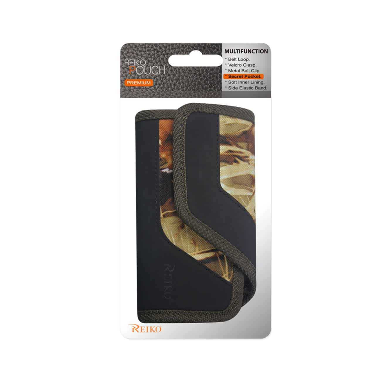 HORIZONTAL RUGGED POUCH WITH IPHONE 5 PLUS LEAVES PATTERN LEAVESL PATTERN