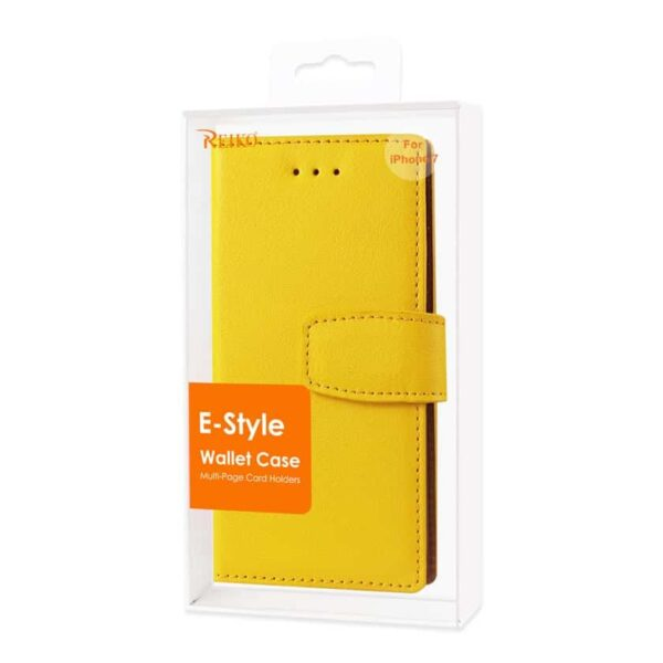 IPHONE 7 SYNTHETIC BULLHIDE LEATHER WALLET CASE WITH RFID CARD PROTECTION IN YELLOW