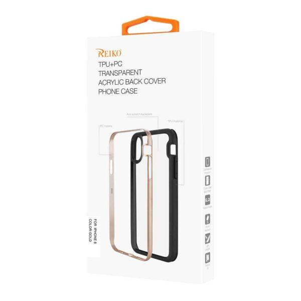iPhone 8/ 7 Hard Transparent Plastic TPU Case In Clear Gold