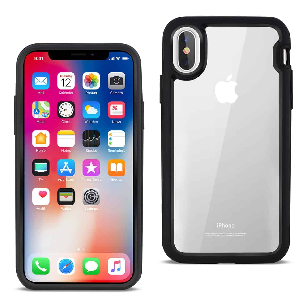 iPhone X Hard Transparent Plastic TPU Case In Clear Black