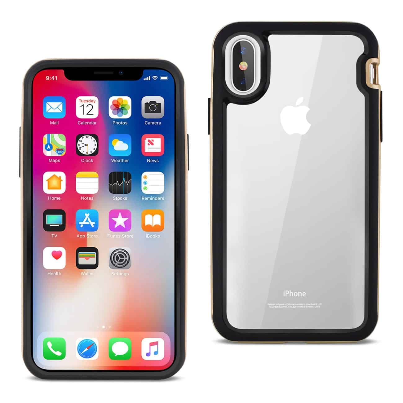 iPhone X Hard Transparent Plastic TPU Case In Clear Gold