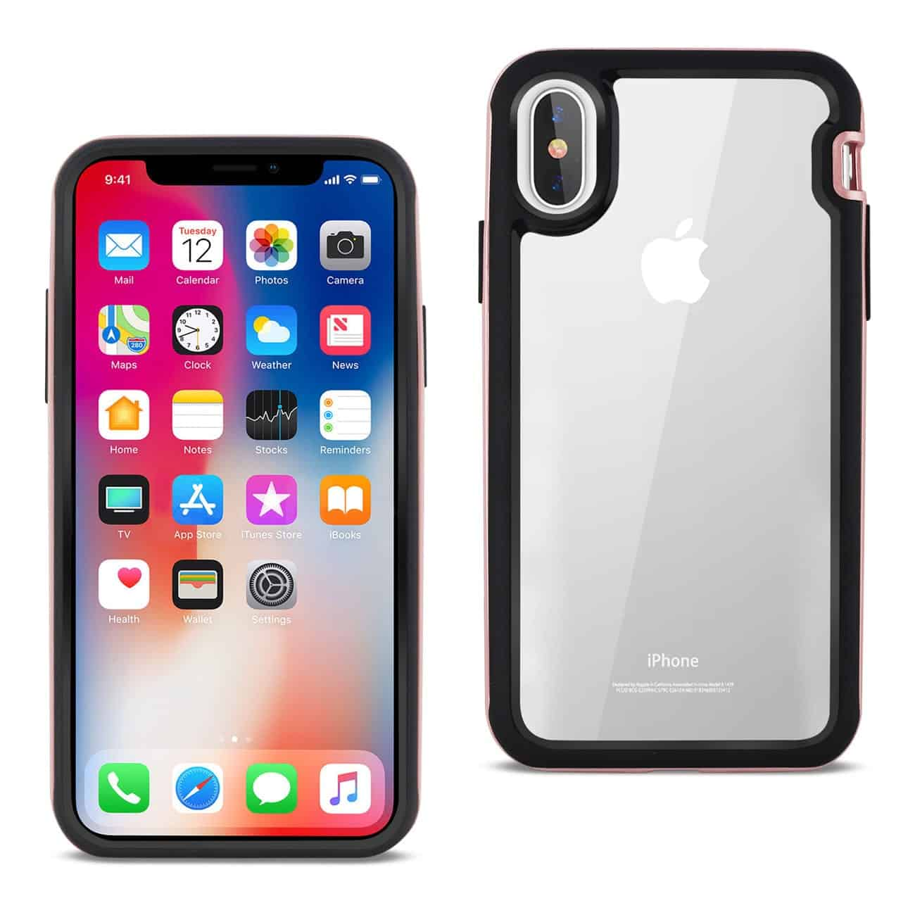 iPhone X Hard Transparent Plastic TPU Case In Clear Rose Gold