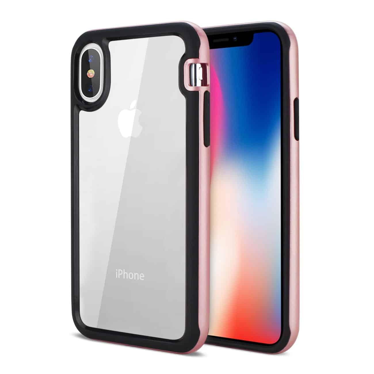 iPhone X Hard Transparent Plastic TPU Case In Clear Rose Gold