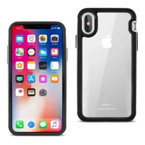 iPhone X Hard Transparent Plastic TPU Case In Clear Silver